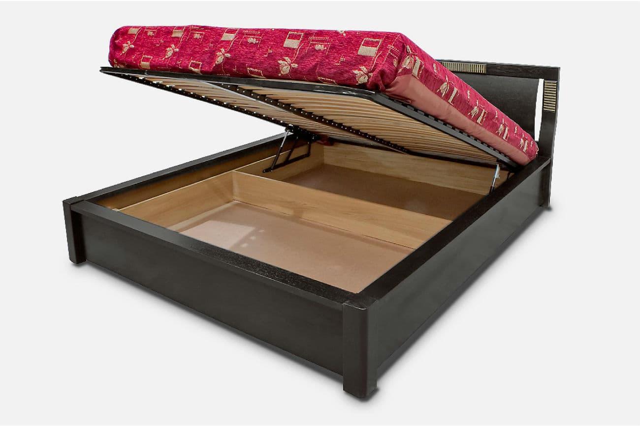 Doppelbett «Karina» mit Hebezeug, Wenge