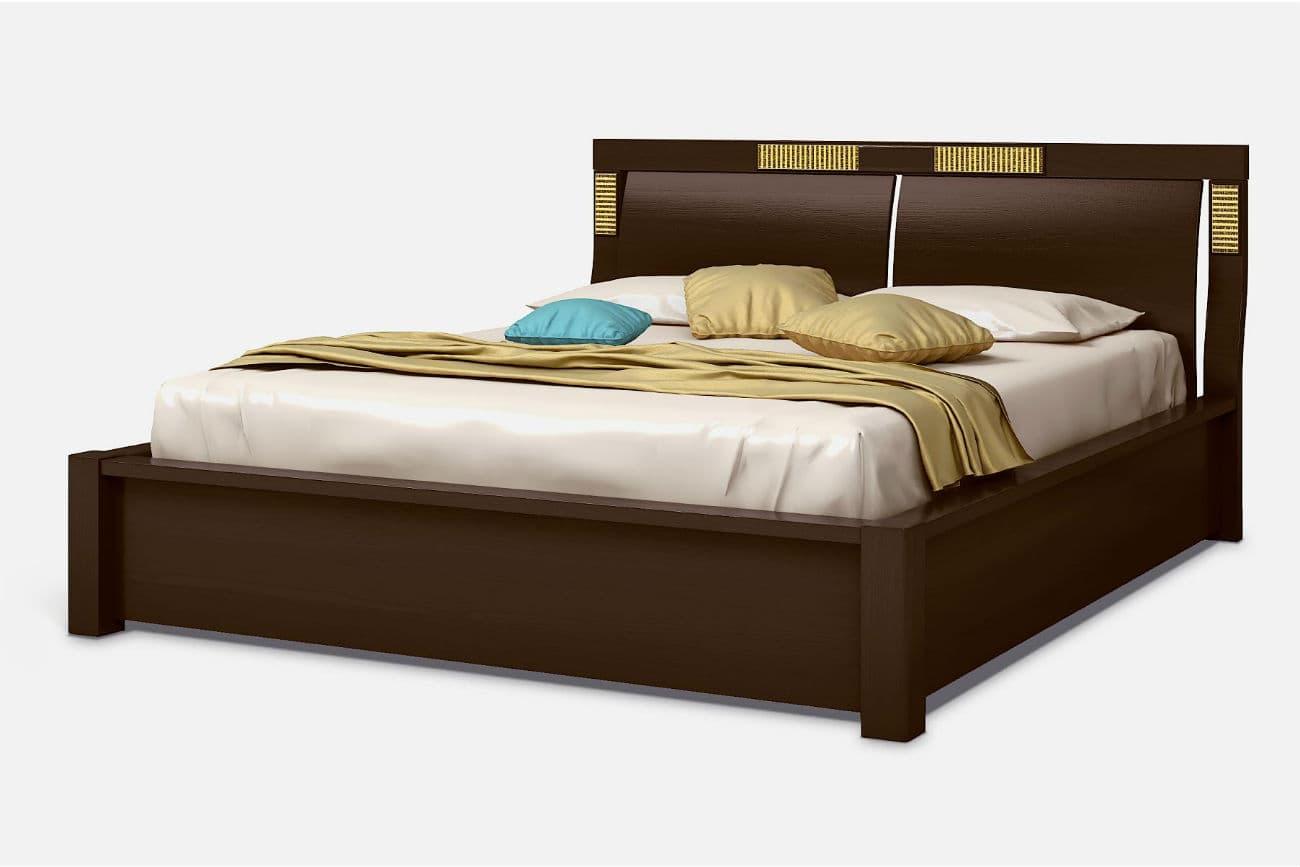 Doppelbett «Karina» mit Hebezeug, dunkler Nussbaum