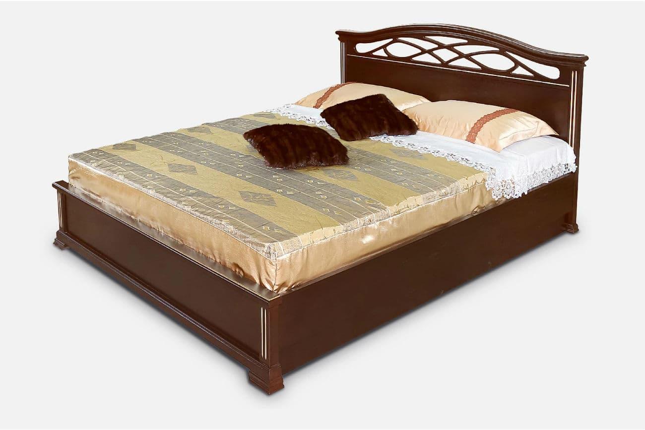 Eineinhalb Betten «Victoria» mit Hebemechanismusindunkler Schokoladenfarbe