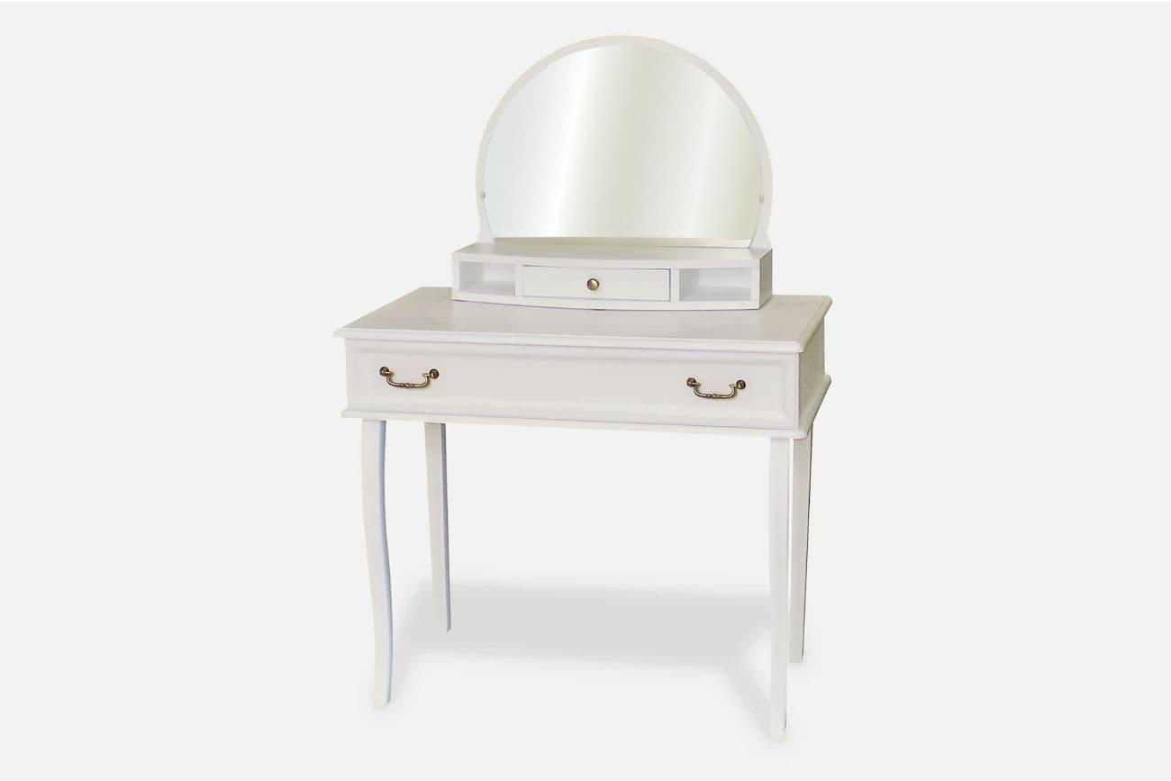 Frisiertisch «Viktoria» mit Spiegel, weiße Lackfarbe