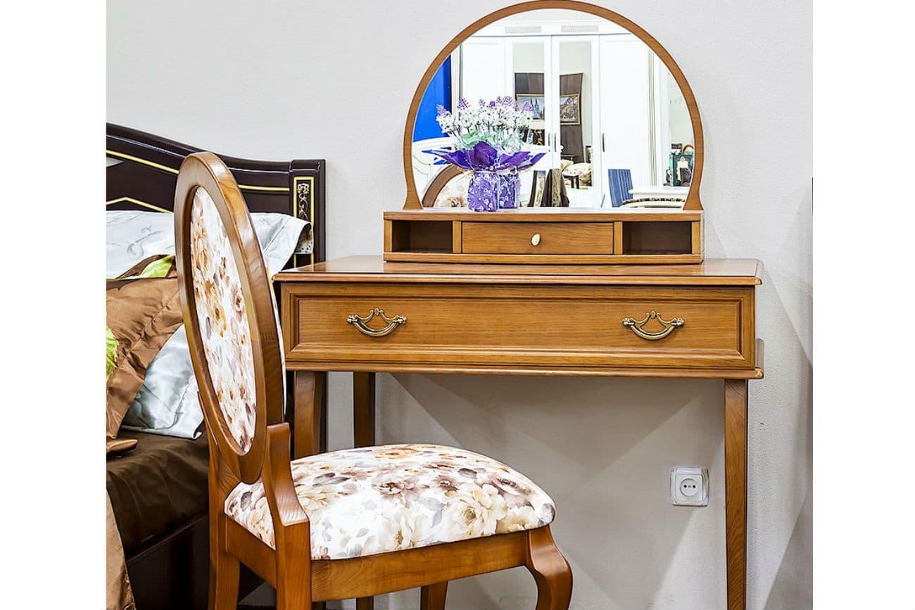 Frisiertisch «Viktoria» mit Spiegel «Svetlana» und Stuhl «Elegant»