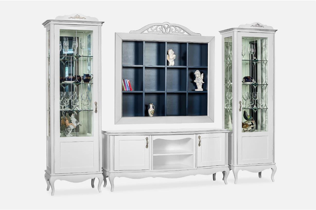 Glasschrank «Athene» aus Erlenmassive: zwei Hochschränke und ein TV Schrank