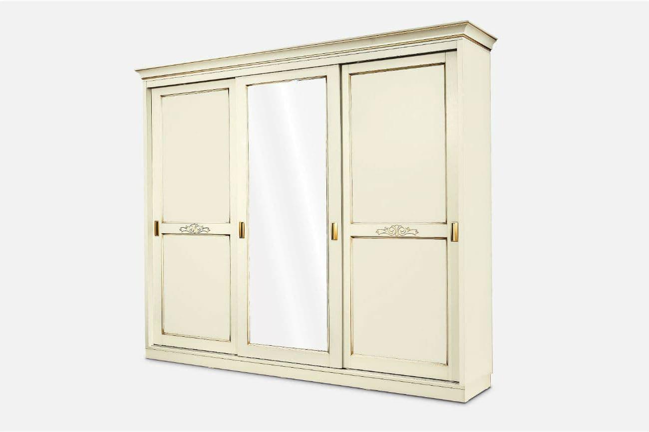 Schiebetürenschrank «Fürstin» mit 3 Türen, Spiegel und dekorativen Einlagen, Farbe – Ivory