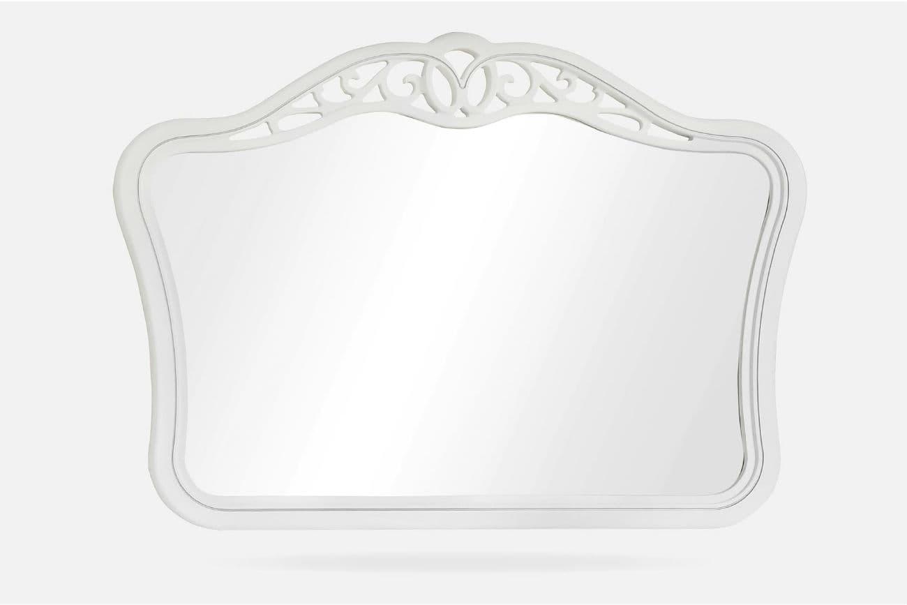 Зеркало из массива дуба «Афина», тонированное в цвет эмаль белая